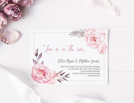 Invitatie blushing pink