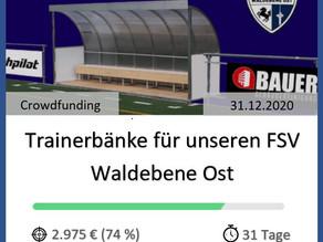 Endspurt für unsere Trainerbänke – 75% sind bereits finanziert!