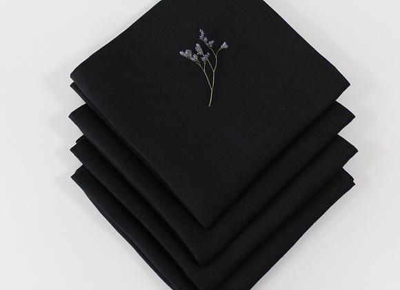 Irish Linen Napkins - 4 Black