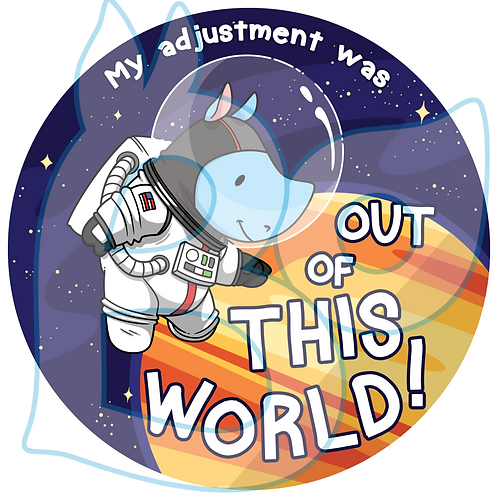 """my adjustment was out of this world"" – Chiropractic Adjustment Sticker"
