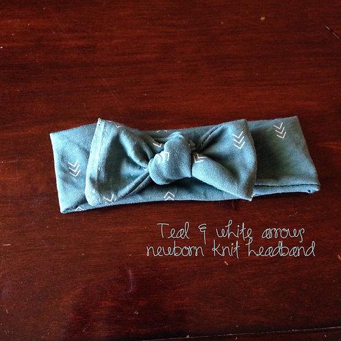 Teal Arrows Knit Headband