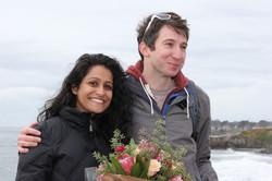 happy newly engaged smiling couple