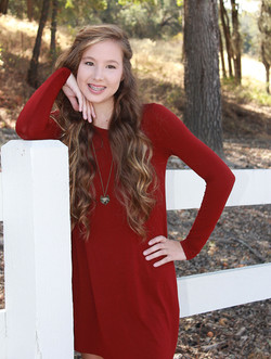 lady in red high school photo shoot