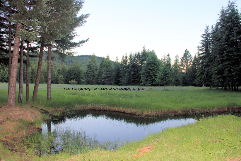 Creek bridge meadow wedding venue located in Careywood Idaho on four acres of meadow with gorgeous mountians surronding