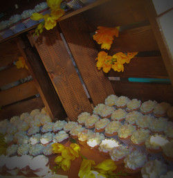 wood crates and cupcakes