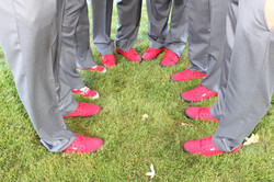 Red tennis shoes