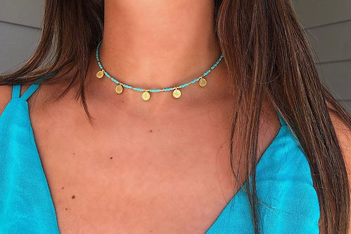 Traditional Blue Coin Choker