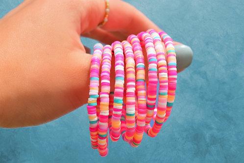 Rainbow Clay Disc Bracelet