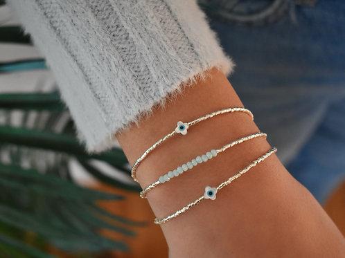 Eye Clover Bracelet ~ Silver