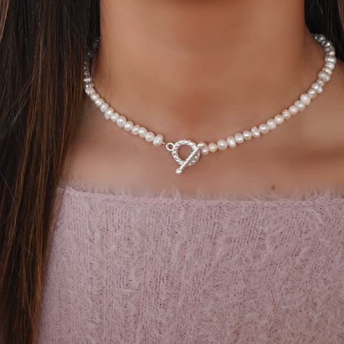 Perfect Pearl Choker ~ Silver
