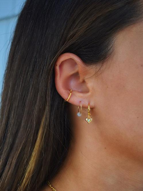 Opal Heart Huggies & Dainty Ear Cuff