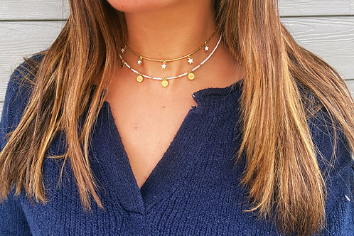 Traditional White Coin Choker