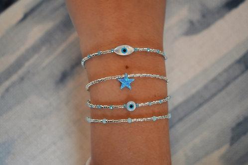 Frosted Evil Eye Bracelets