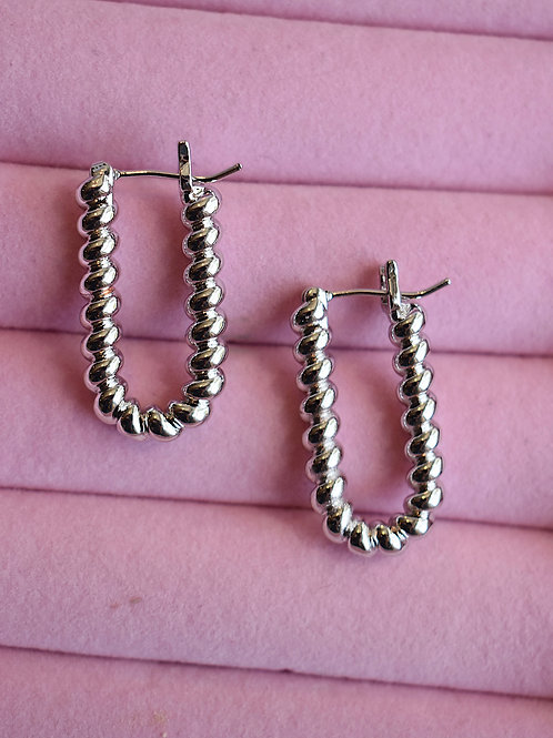 Silver Croissant Hoops