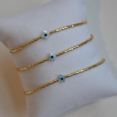 Eye Clover Bracelet ~ Gold