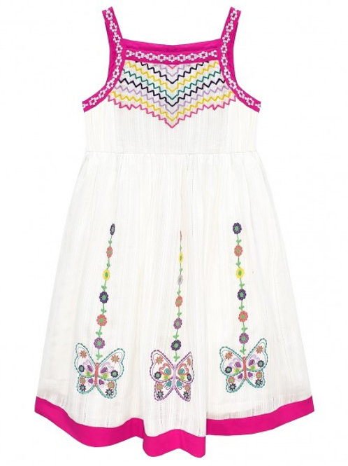 Pink Embroidered Butterfly Sun Dress