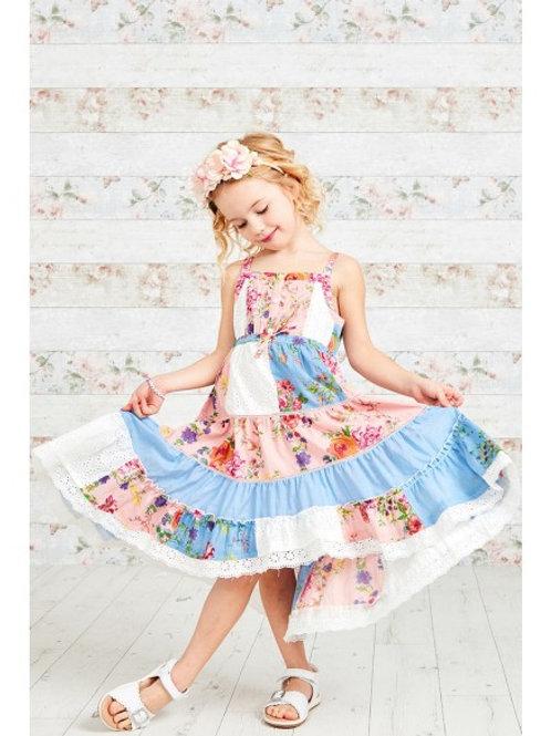 Pretty Layered Patchwork Print Lace Dress