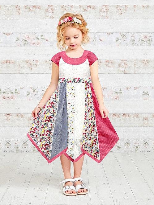 Fuchia Polka Dot Panel Dress With Cap Sleeve