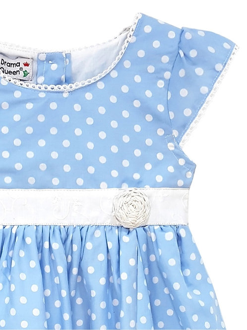 Toddlers Blue Polka Dot Lace Dress