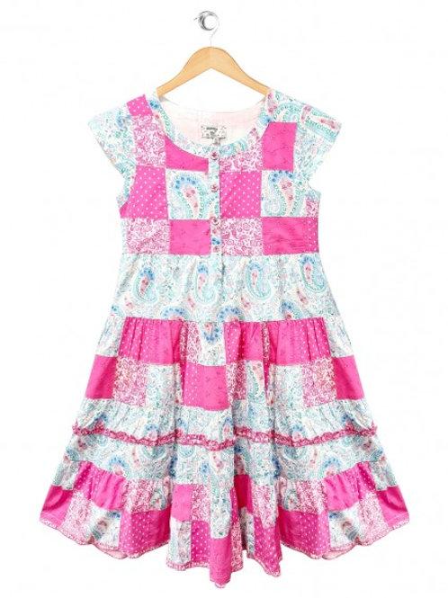Paisley Print Fuchsia Patchwork Girls Dress