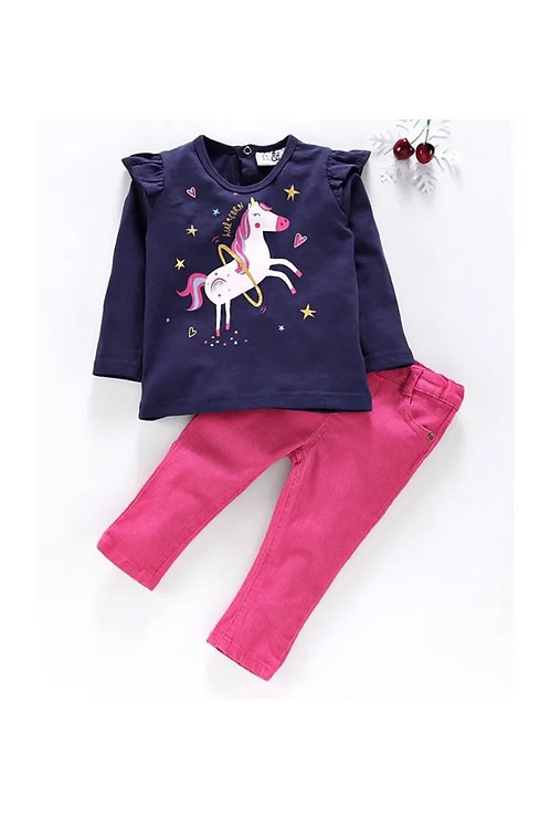 Unicorn Long Sleeve Top and Jeans Set