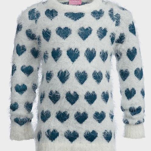 Girls Heart Motif Fluffy Jumper