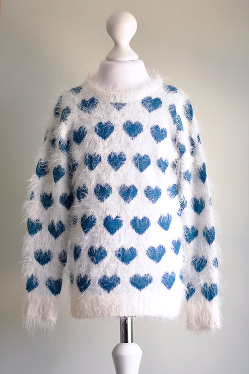Girls Heart Motif Fluffy Jumper