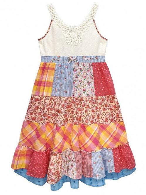 Layered Patchwork Crochet Dress