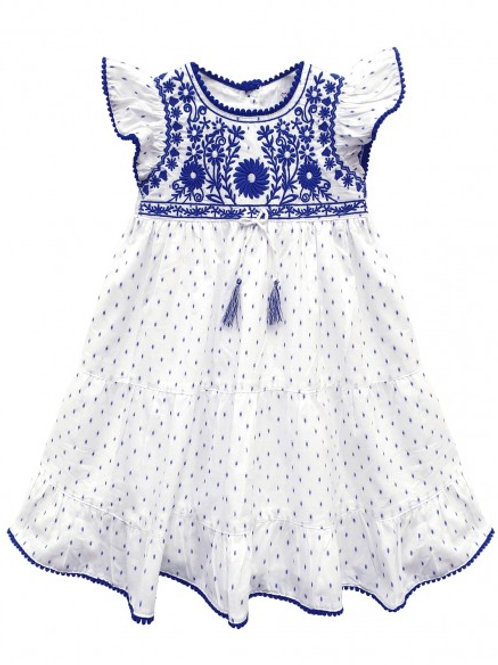 Toddlers Embroidered Scallop Trim Dress