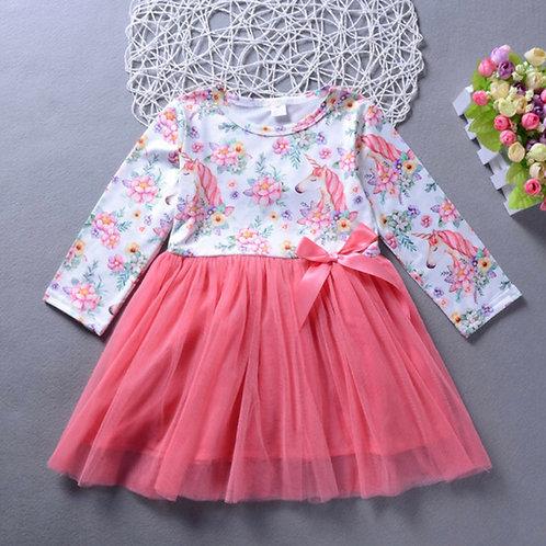 Beautiful Unicorn and Flower Long Sleeve Dress
