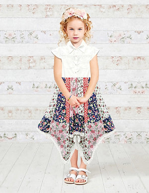 White Denim Top Floral Print Girls Hanky Dress