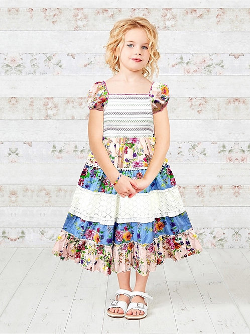 Printed Floral Layered Lace Trim Girls Dress