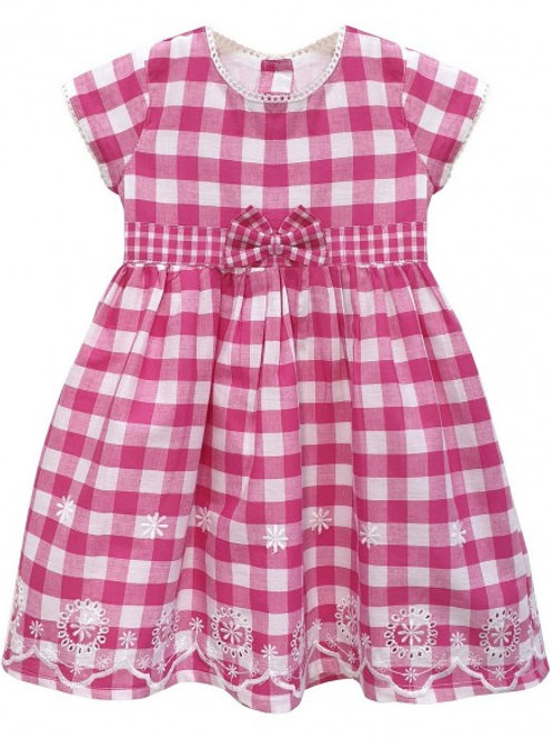 Fuchsia Gingham Border Hem Dress