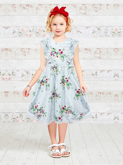Floral & Stripe Print Girls Ruffle Dress