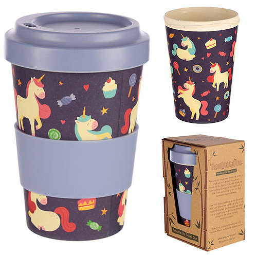 DREAMS UNICORN REUSABLE SCREW TOP BAMBOO TRAVEL CUP