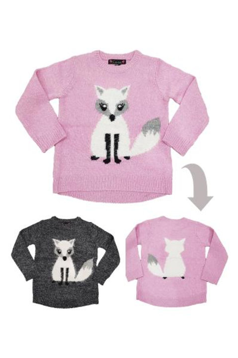 Girls Winter Fox Jumper with Super Cute Front and Back Detail