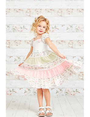 Butterfly Print Layered Girls Gypsy Dress