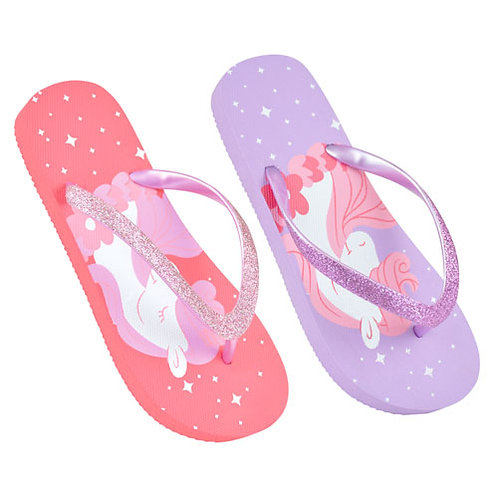 Sparkly Unicorn Flip Flops in Lilac Pink
