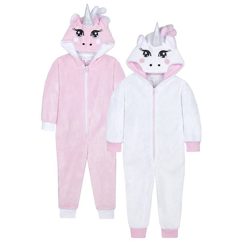 Soft and Snug Unicorn Onesie in Pink or White with a Detachable Tail! Ages 7 -13