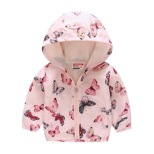 Pretty Pink Butterfly Raincoat Windbreaker Jacket