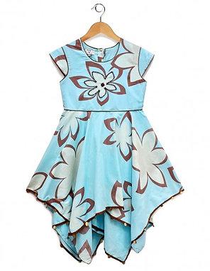 Large Printed Girls Hanky Hem Dress