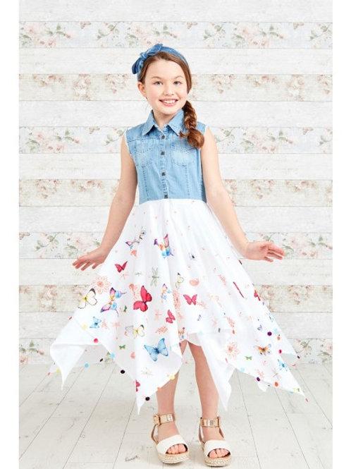 Butterfly Pattern Denim Top Hanky Dress with Cute Hem Detail