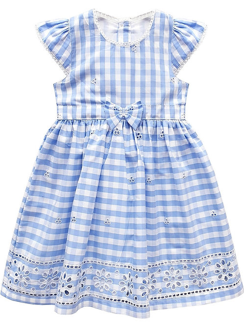 Blue Gingham Border Hem Dress