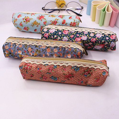 Cute Vintage Style Floral Pencil Case / Make up Bag / Glasses Case