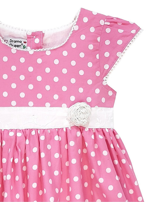 Toddlers Pink Polka Dot Lace Dress