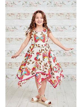 Embellished Butterfly Print Hanky Dress