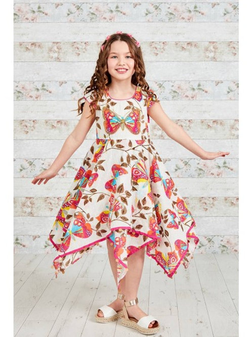 Embellished Butterfly Print Hanky Dress