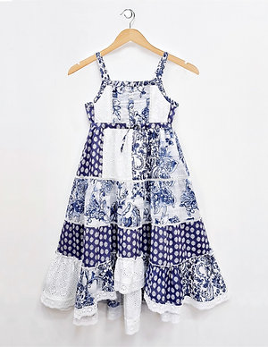 Tuscany High Low Tiered Floral Print Girls Dress