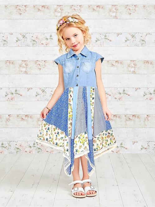 Denim Top Patchwork Print Girls Yellow Hanky Dress