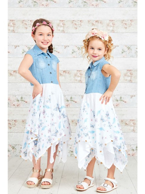 Denim Top Blue Butterfly Dress with Sequins